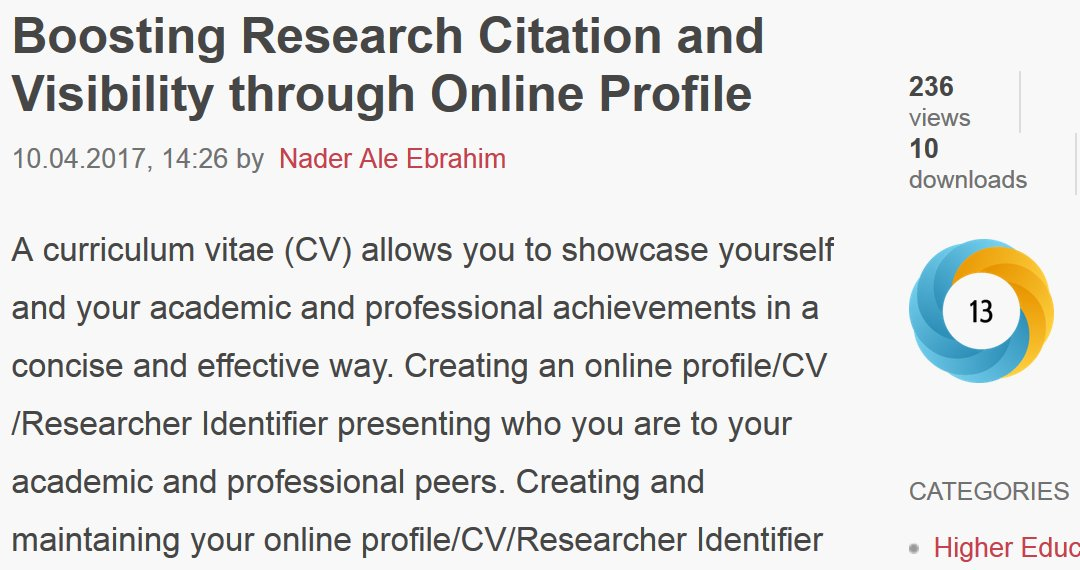 Improve #ResearchCitation and #ResearchVisibility through #Online #Profile  https:// figshare.com/articles/Boost ing_Research_Citation_and_Visibility_through_Online_Profile/4833779   … <br>http://pic.twitter.com/Kbta4GU3O2