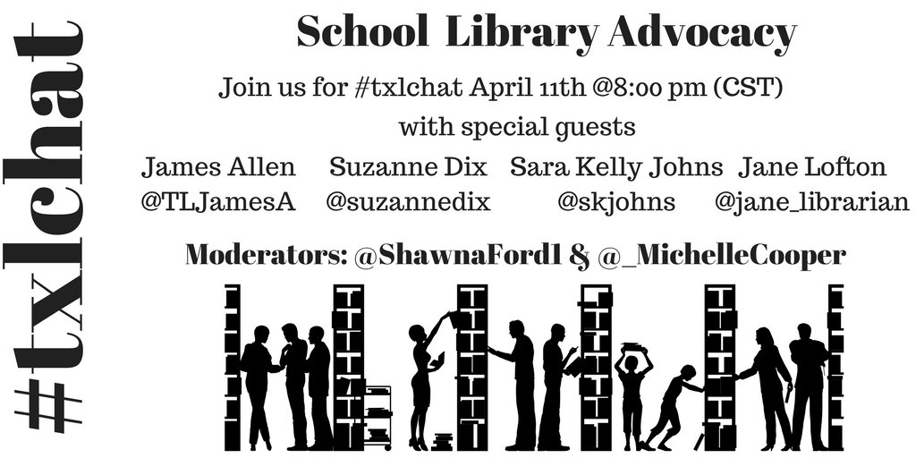 Welcome to #txlchat Please introduce yourself & welcome our special guests! @jane_librarian @skjohns @TLJamesA @suzannedix #KyLchat #SLM17 https://t.co/mt1iVeA36K