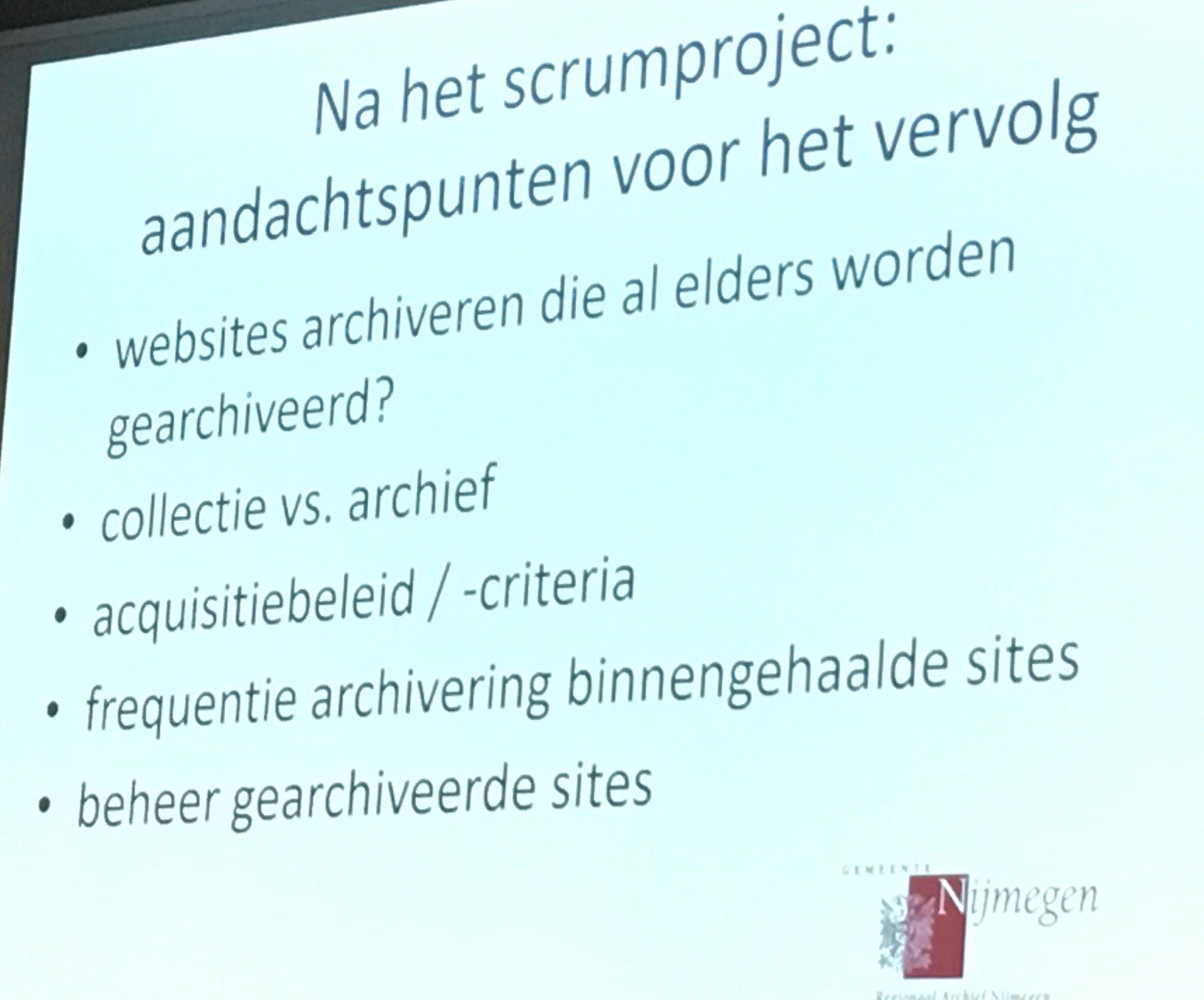 Aandachtspunten genoemd door het Regionaal Archief Nijmegen. Hierover gaat nationale samenwerking! #17WDE @info_NCDD https://t.co/AHfd3S7Vl3
