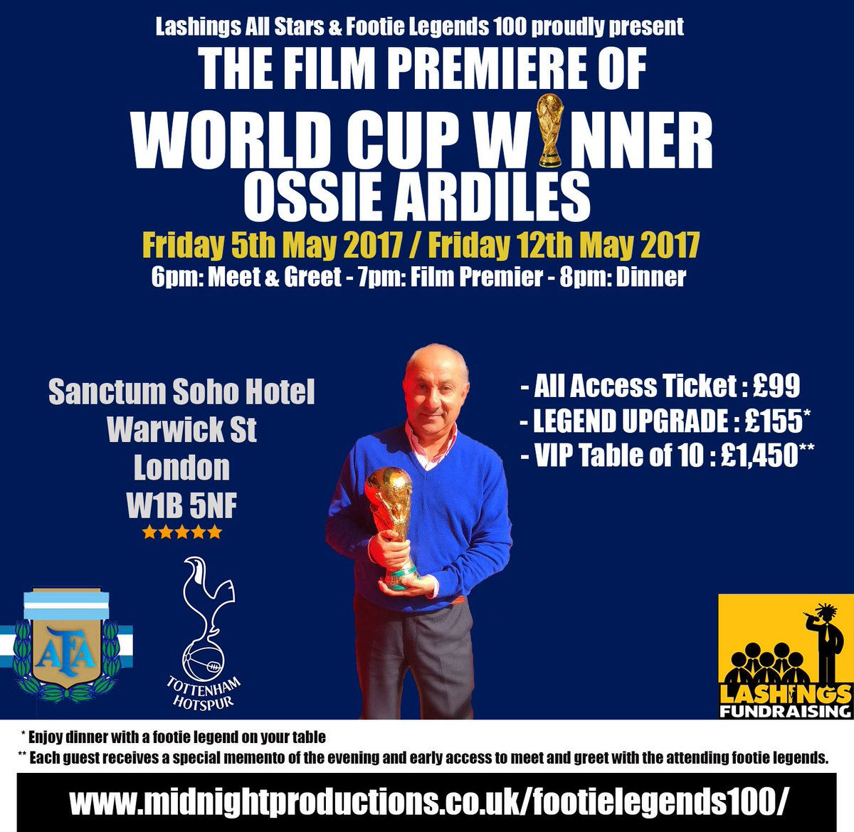 Lashings on twitter thfc legend osvaldooardiles film premiere at tickets via httpmidnightproductionsfootielegends100 picitterwfihhhmgrt m4hsunfo