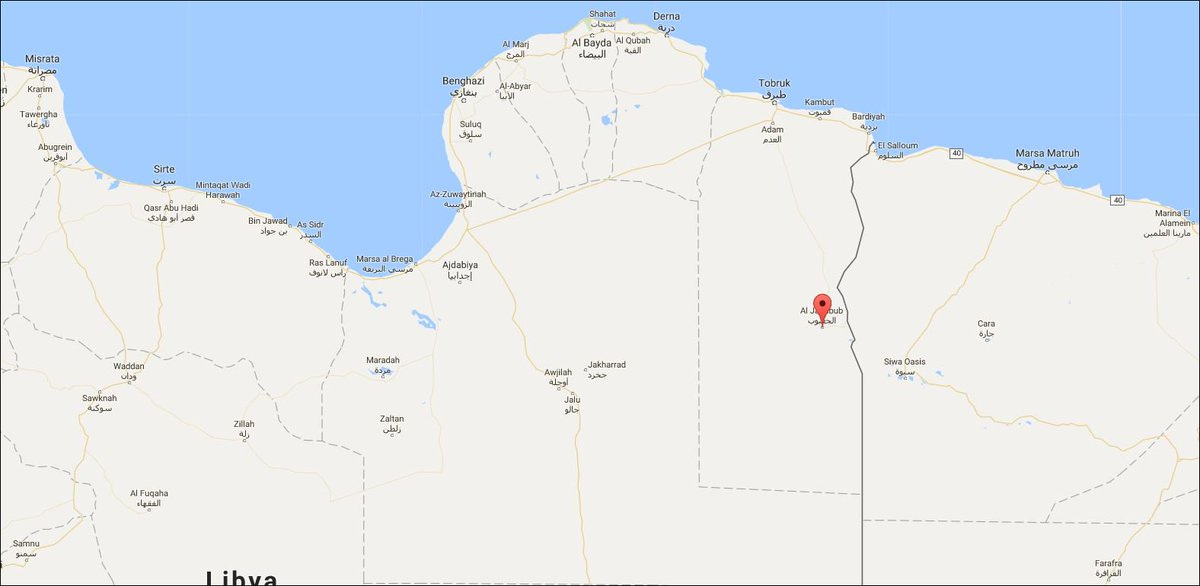 Libya - LNA lost contact with 2 vehicles and 8 men south of al-Jaghbub, near Egypt border, unconfirmed reports of clashes with armed Chadians