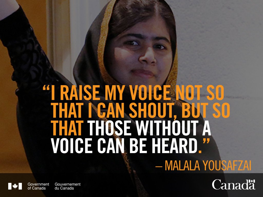 Canada is proud to welcome #Malala Yousafzai, Global education activist and Honorary Canadian citizen https://t.co/vKlbA8ROs3