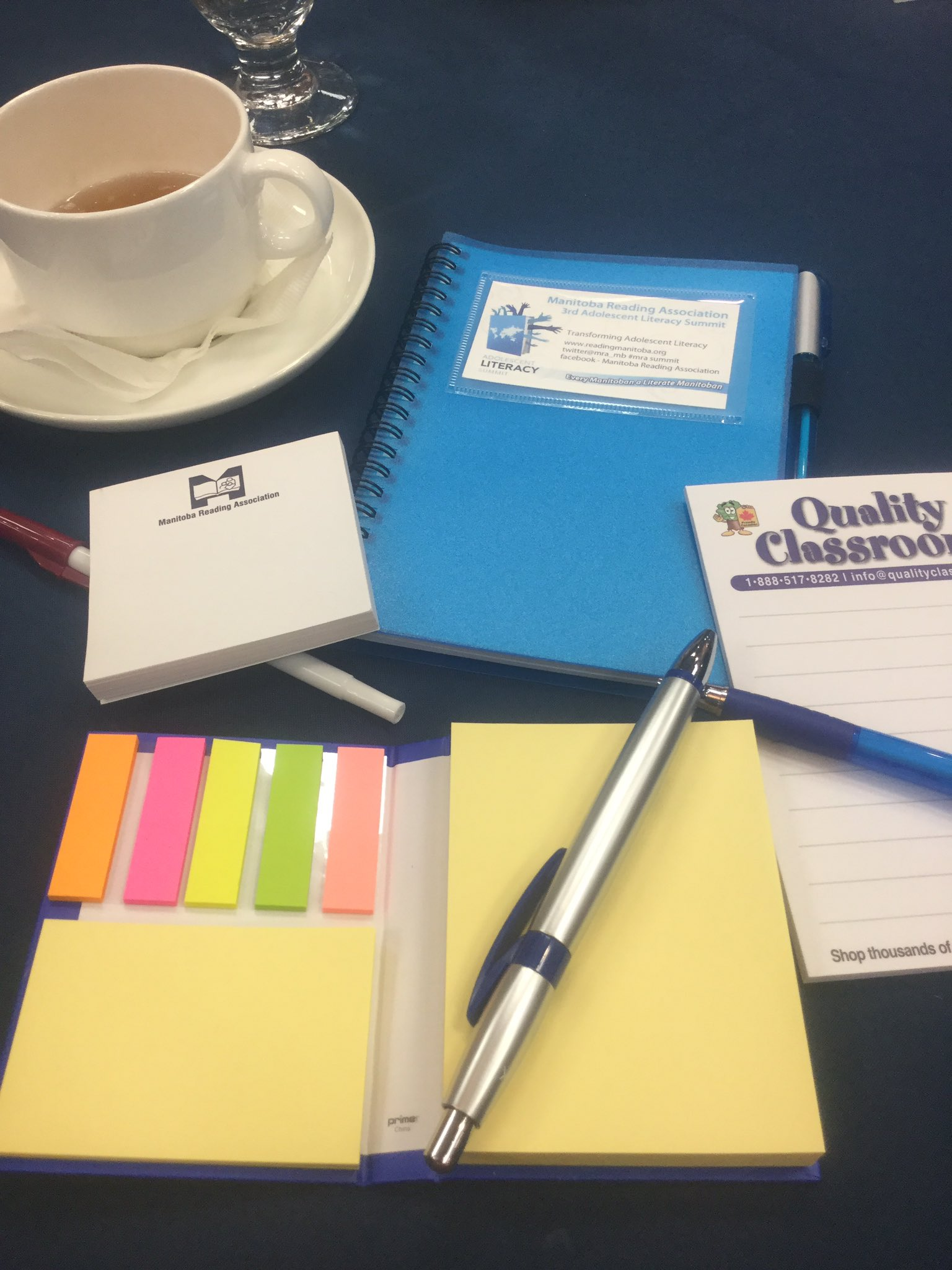 MRA knows how to woo teachers: pens, journals , and sticky notes!  It's going to be a productive day. #mrasummit https://t.co/rftGlneeA3