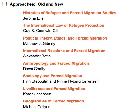 In the first section of the Oxford Handbook of Refugee and Forced Migration Studies (2014), co-edited by Betts's collaborator Gil Loescher: https://t.co/JZL7Bw2Drk