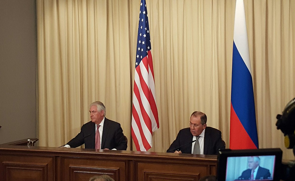 Asked again about Russian hacking of US election, Tillerson says both countries will be mindful of it in the future. Pretty soft on that one