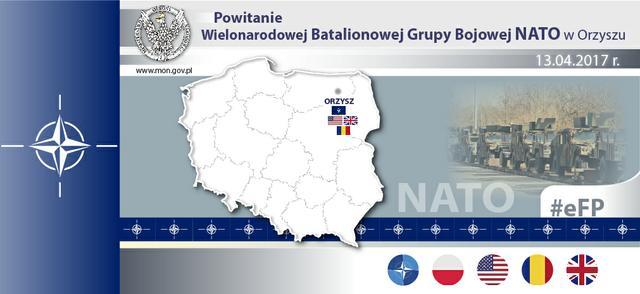 Polish President @prezydentpl and  Defense Minister @Macierewicz_A & @SHAPE_NATO's Gen Scaparrotti officially welcome US-led battlegroup
