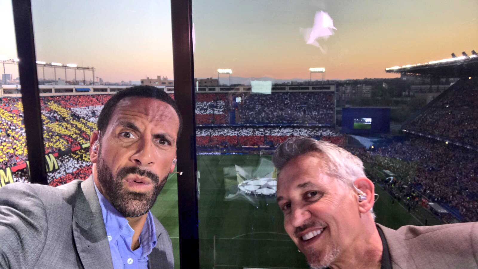 All set & ready to go with @GaryLineker ... that #UCL music gives me goosebumps every time! #AtletiLeicester https://t.co/BZ1RJ0Mtnm