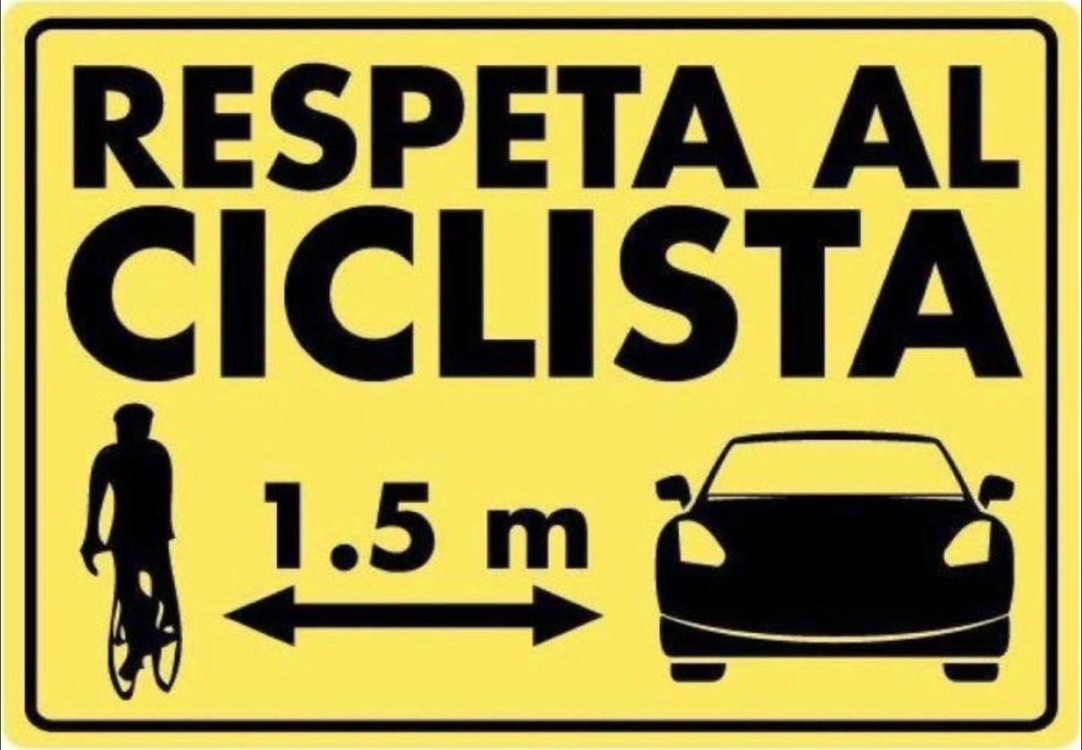 Cuando adelantes a un ciclista recuerda mantener la distancia lateral de seguridad ➡️1,5 m