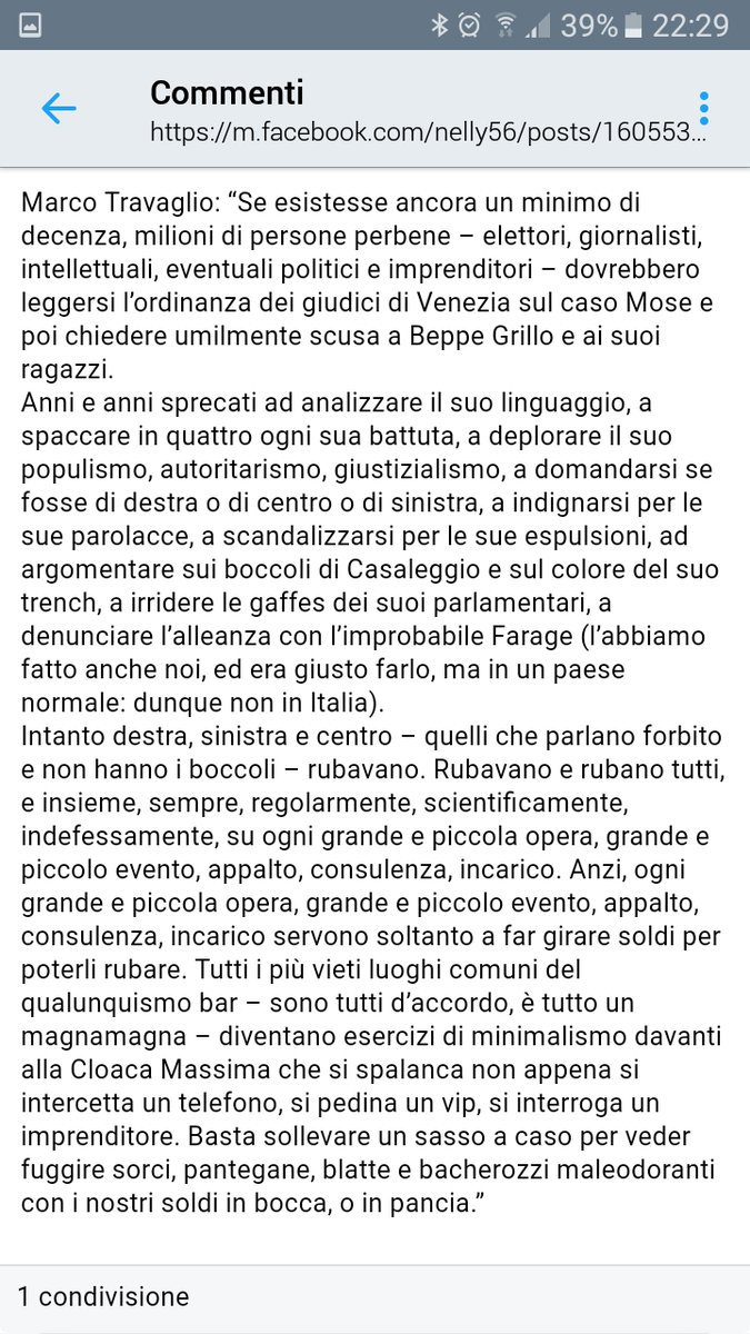 5ab1bb59b7 La corruzione è una metastasi che sta divorando l'Italia. Anche per questo  il Movimento 5 Stelle è l'unica alternativa parlamentare.