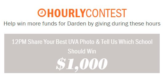 Hourly contest: Submit your best #UVA photo between 12-1pm for #GivingToHoosDay to earn $1,000 extra for Darden! https://t.co/nMh7Gbby4B https://t.co/uUQz0Wp2yM