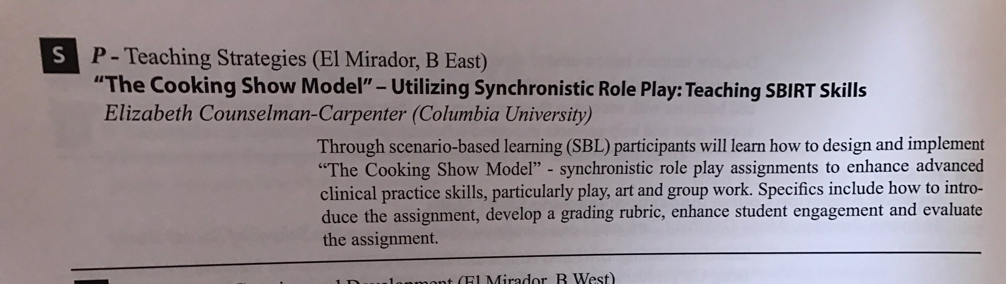 Looking forward to your session today at 4:15 on synchronistic role play! @ElisabethAnneCC @ColumbiaSSW #swde2017 https://t.co/Kx2pewDX7h