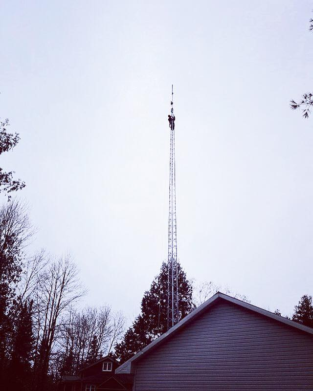 One of our guys doing a tower repair job...