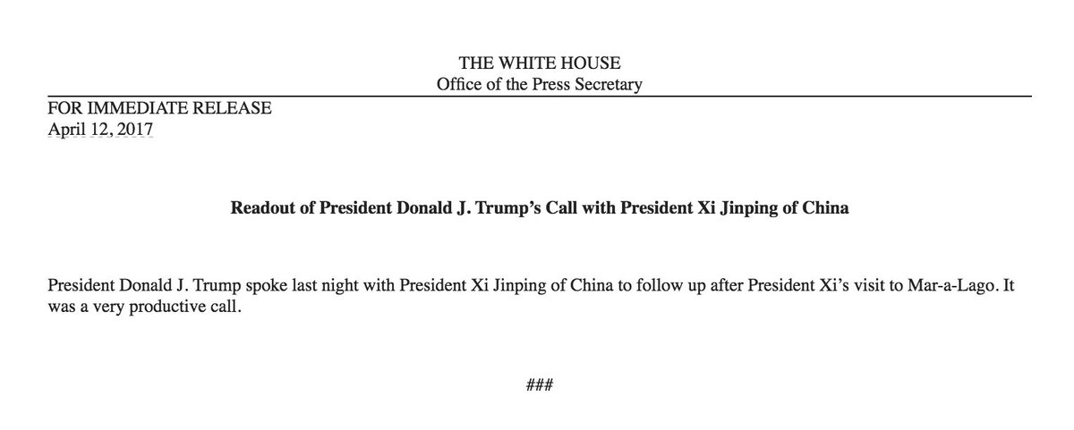This is the actual White House readout of Trump\'s call with Xi Jinping