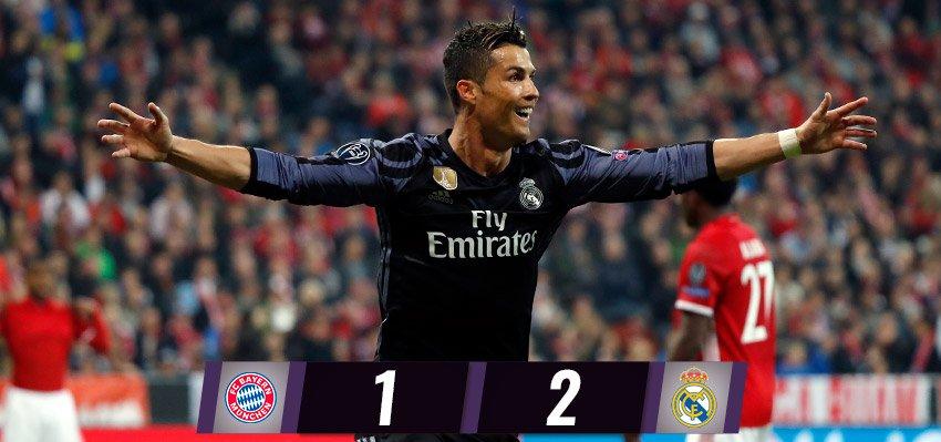 🏁 FT: @FCBayern  1-2 #RealMadrid (Vidal 25'; @Cristiano 47', 77').  #RMUCL #HalaMadrid
