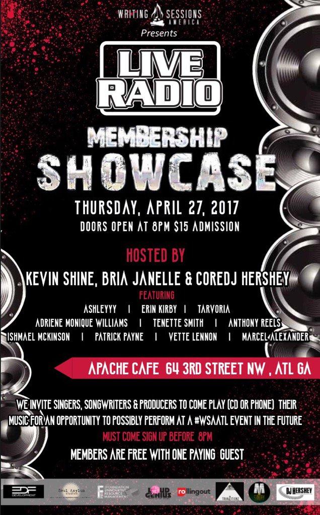 Apr 27, #WSAATL Membership Showcase @ApacheCafe 8pm @DJHERSHEY @iamBriaJanelle  @Kevin_AnR_Shine ,$15, Bring music!! https://t.co/jrpwp9iwUW