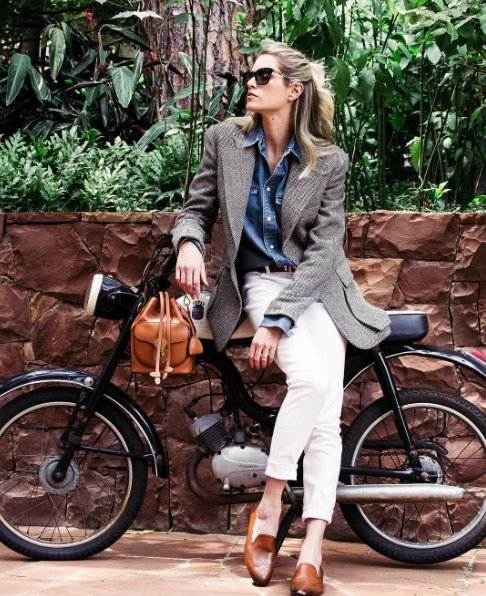 HelenaBordon wears the The Tweed Jacket in her home city of Sao Paulo 824e8aef3a708