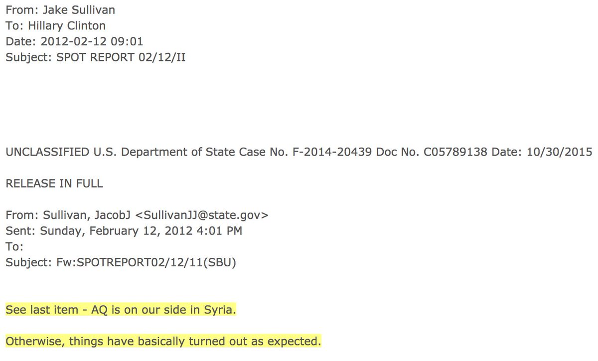 """""""[al-Quada] is on our side in Syria""""--email from policy advisor to Secretary of State Hillary Clinton (Feb 2012)"""