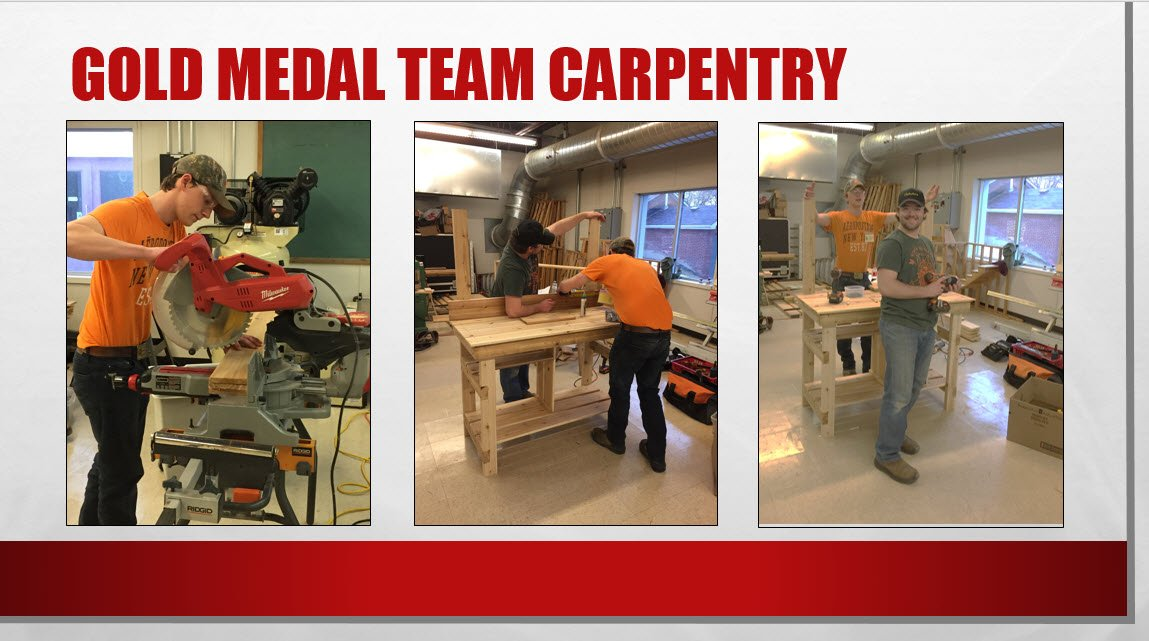 Gold medal Team Carpentry – Matt Huyck and Zach Norman from @Ernestown_LDSB show off their winning project - a potting bench. https://t.co/Eogps2uZSg