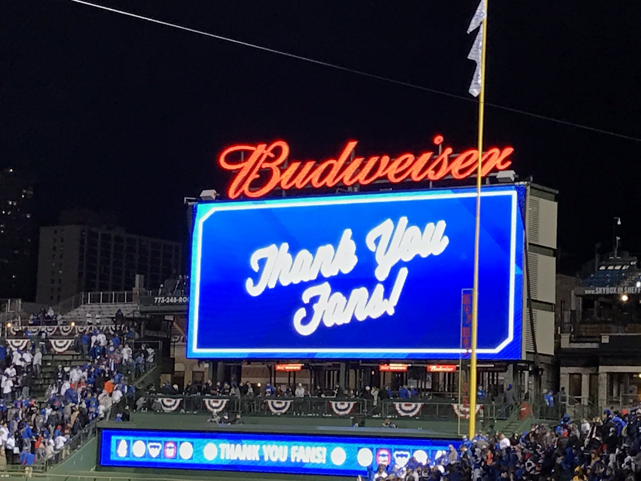 Didn't end the way we wanted it to, but that was  a night to remember #Cubs fans! Thanks for all the kind words. More to come tomorrow https://t.co/49X96J41gJ