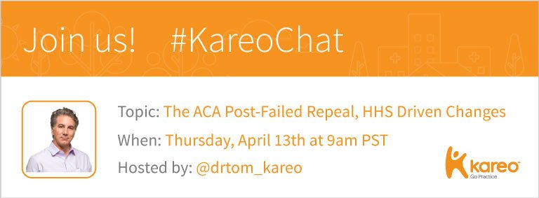 ALL Welcome! https://t.co/0vE8mymyEo Join #KareoChat w/ @drtom_kareo tomorrow and let's talk what happens post #ACA repeal fail. #Healthcare https://t.co/tMjfWW9KID