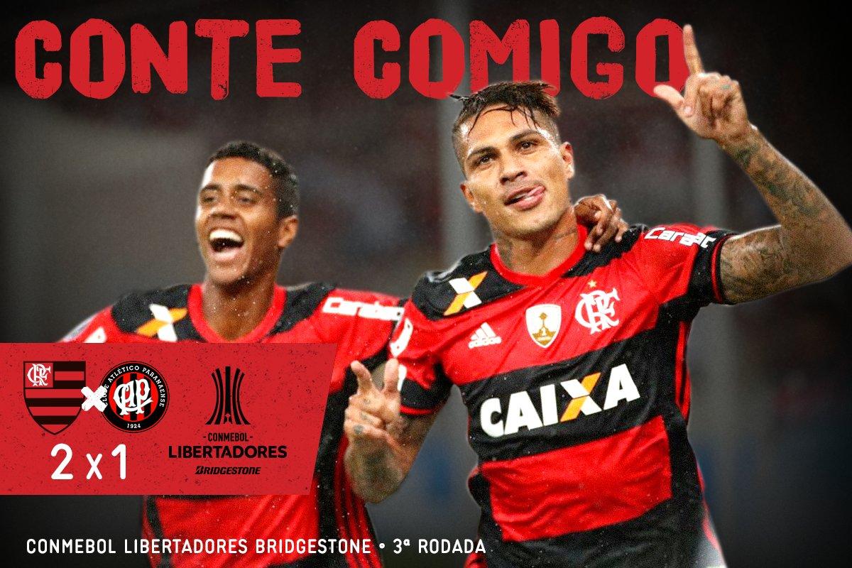 Juntos chegamos lá! Com gols de Guerrero e Diego, o Mengão vence o Atlético-PR por 2x1 e lidera o grupo 4 #ConteComigo