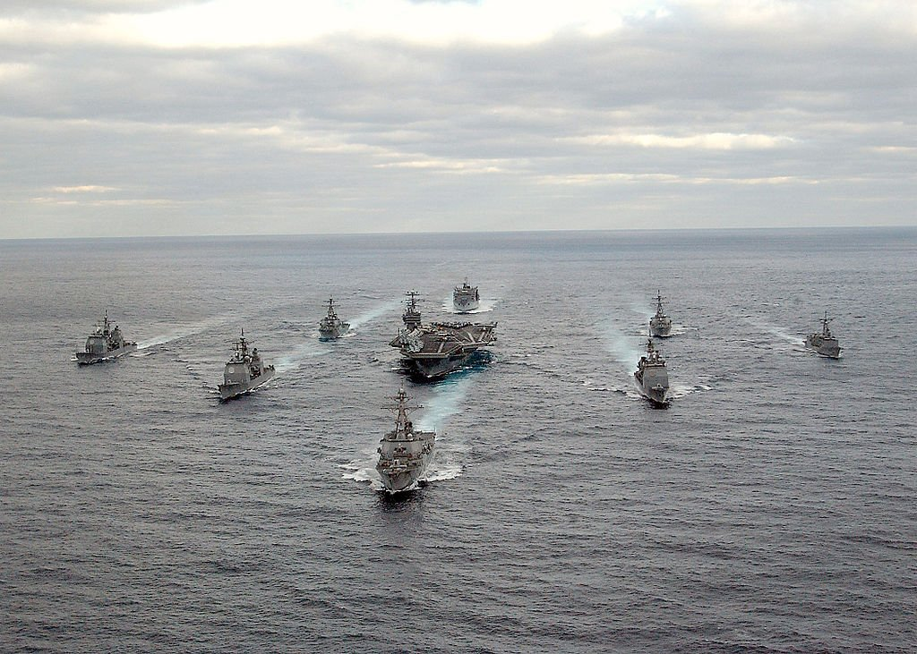 IMAGE: USS George Washington (CVN-73) Carrier Strike Group sailing in the Atlantic Ocean https://t.co/XwDN5dIcRT