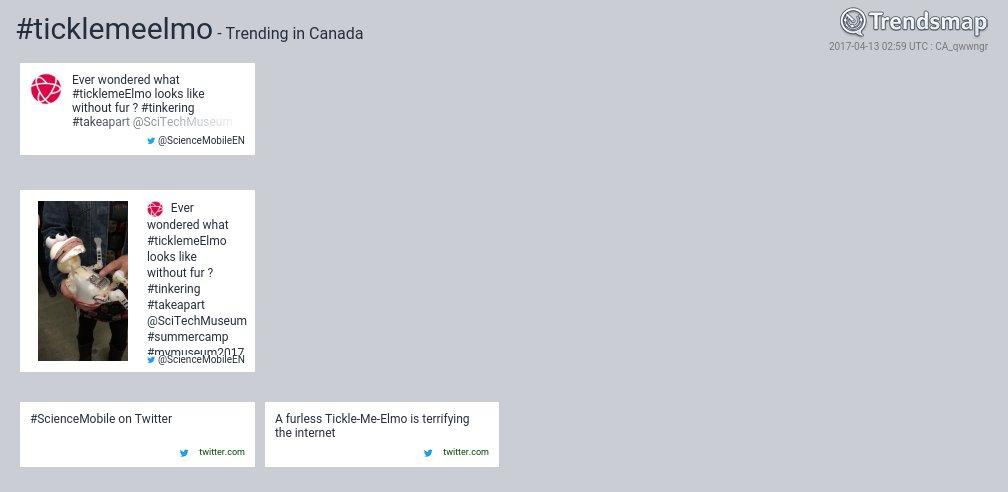 #ticklemeelmo is now trending in Canada   https://www. trendsmap.com/r/CA_qwwngr    <br>http://pic.twitter.com/lp94nrDjzs