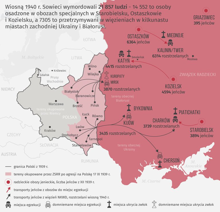 Not only Katyn- map of Soviet crimes against Poles in 1940