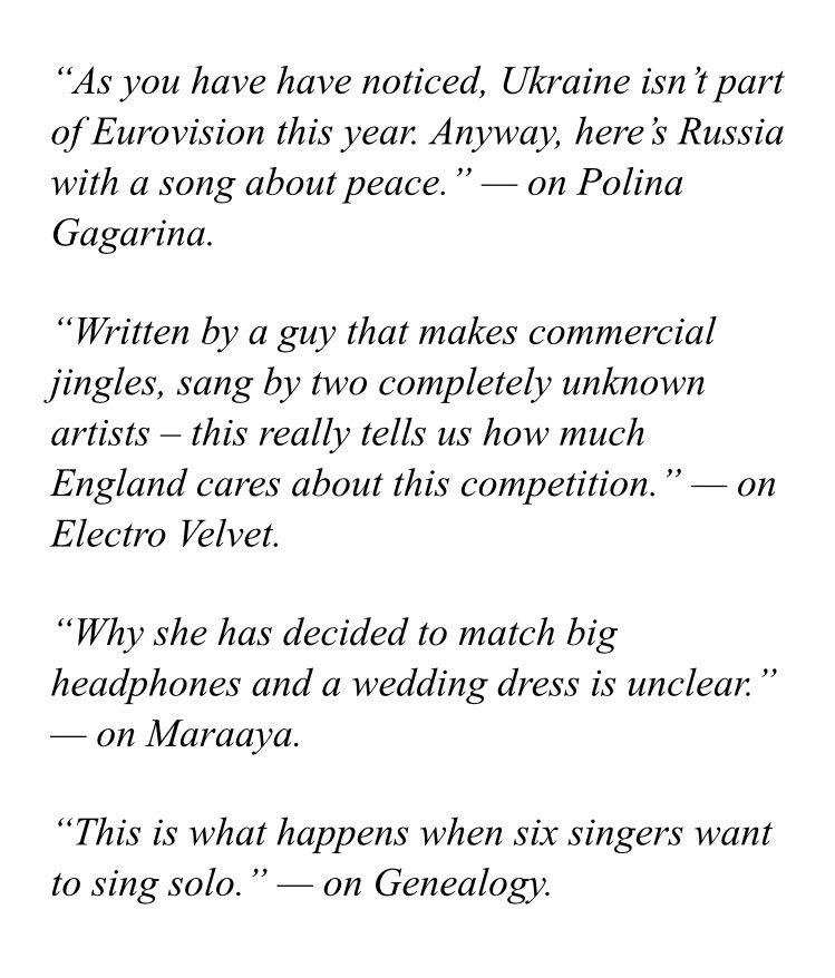 Haha. I Love this! � @wiwibloggs translated some of my lines from Eurovision 2015, when I last commentated for SVT!