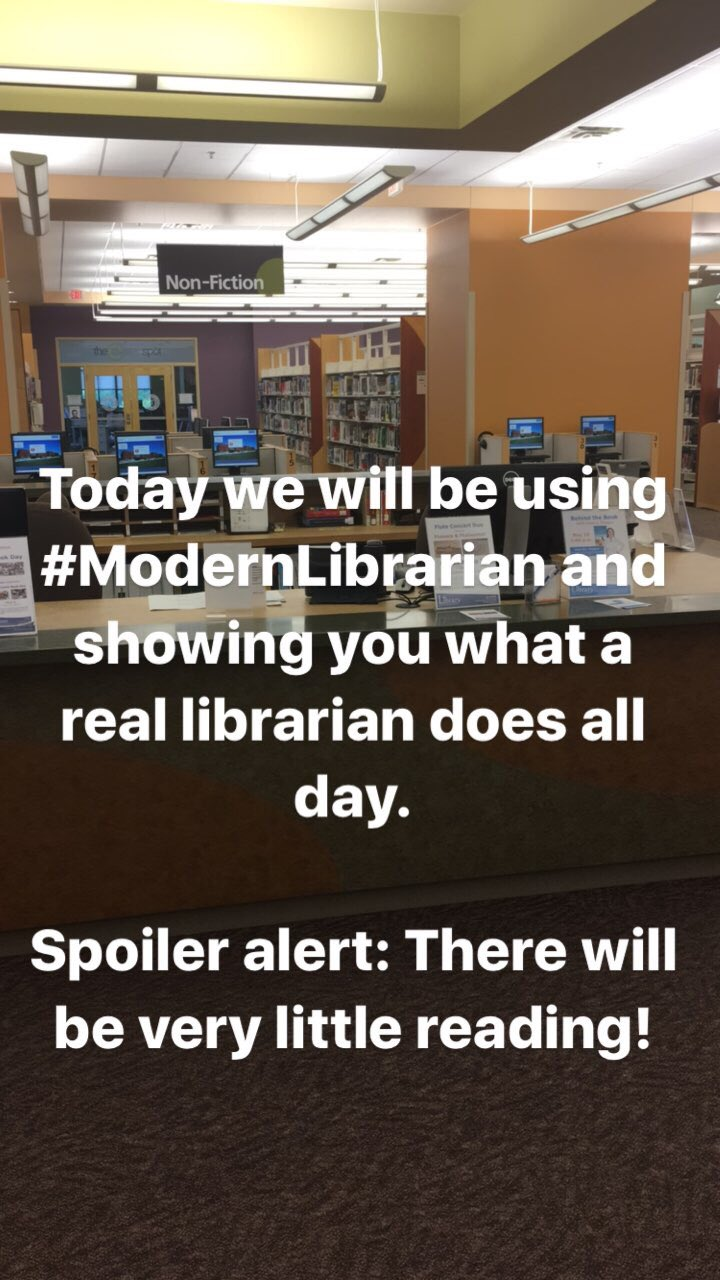 Follow #modernlibrarian here, on Facebook & Instagram to see what a real librarian does all day! #nationallibraryweek #LibrariesTransform https://t.co/ZrknJy3sbj