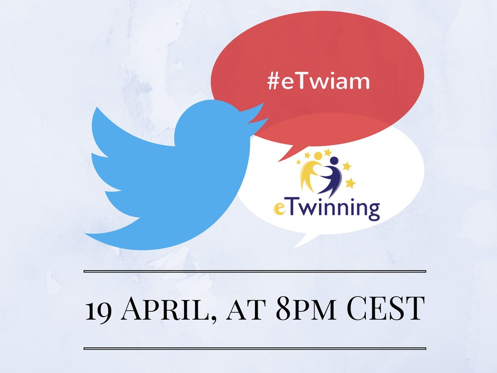 Don't miss today's Twitter chat at 20.00 CEST! We will discuss about Creativity in #eTwinning – join using the official hashtag #eTwiam https://t.co/hF1thGxoZx