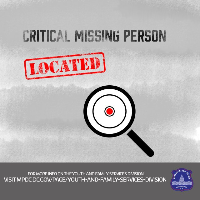 Great News! 16 y/o Darmani Proctor has been located in good health! Thank you to the media and public! #MissingPersonLocated https://t.co/iWpNnD0KFD