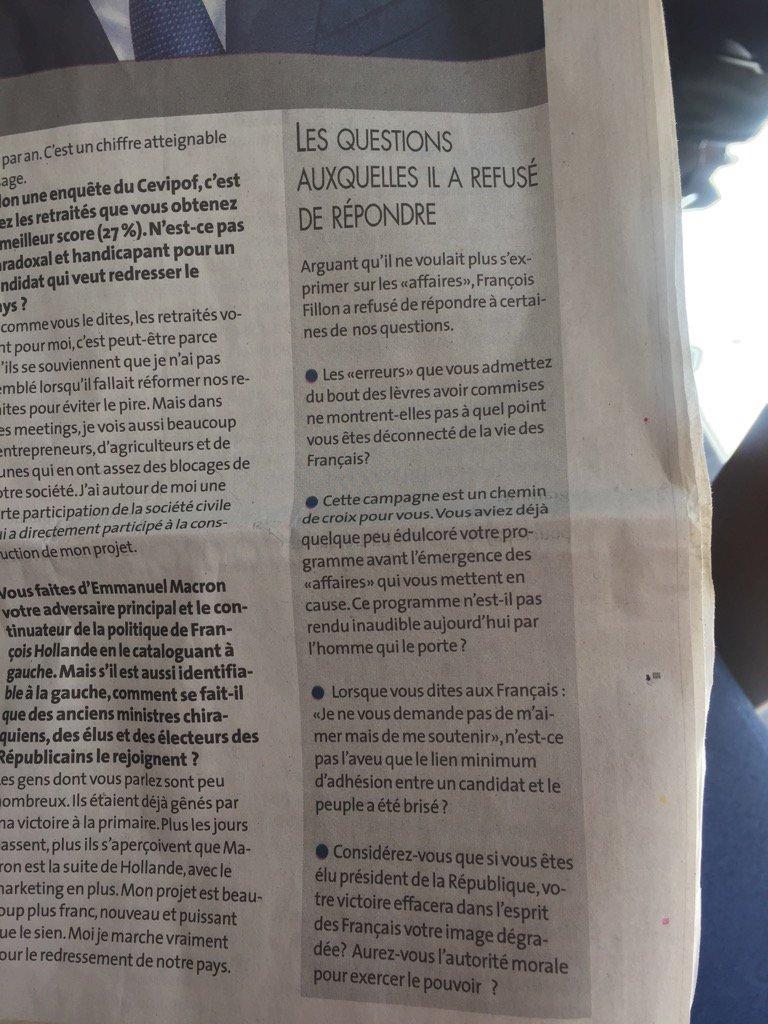 Malin ce petit encadré de @ladepechedumidi : les questions auxquelles @FrancoisFillon a refusé de répondre #devinez https://t.co/WqYvJ49unC