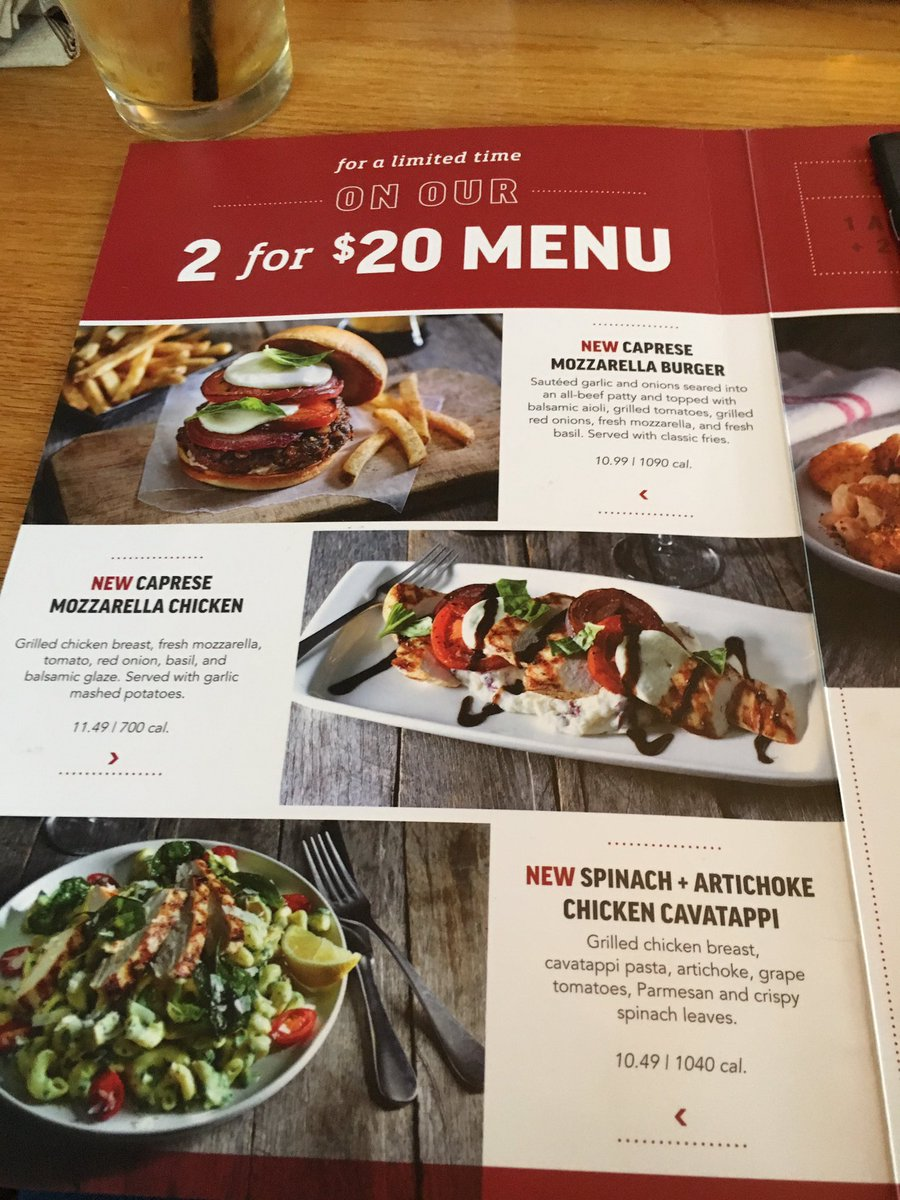 "mj day on twitter: ""@applebees ""limited time 2 for $20"" menu, only"
