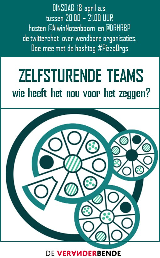 Doe je mee? Dinsdagavond 18 april hosten @alwinnotenboom en ik de twitterchat over zelfsturende teams. Start: 20u met de hashtag #PizzaOrgs https://t.co/JQCOn44LJL