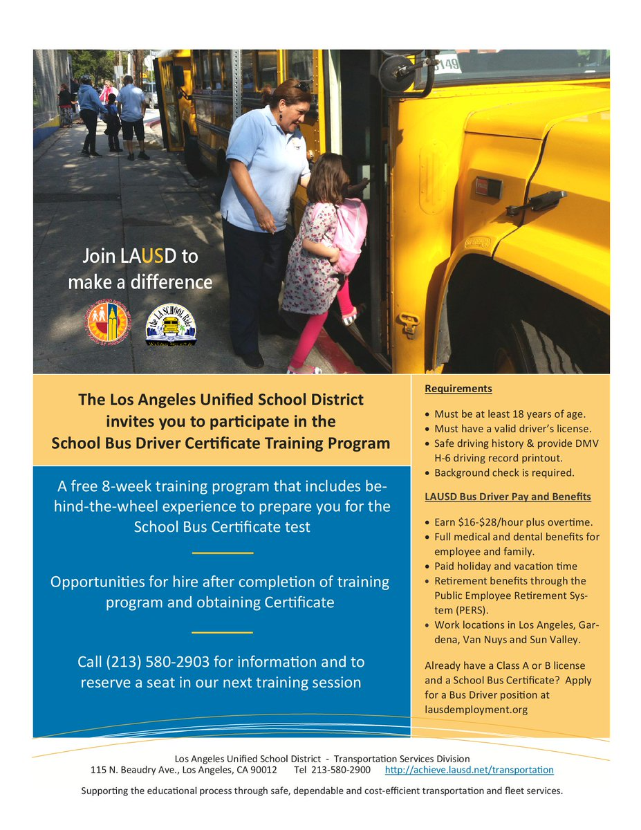 Lausd Classifiedjobs On Twitter Want To Be A Bus Driver Have No