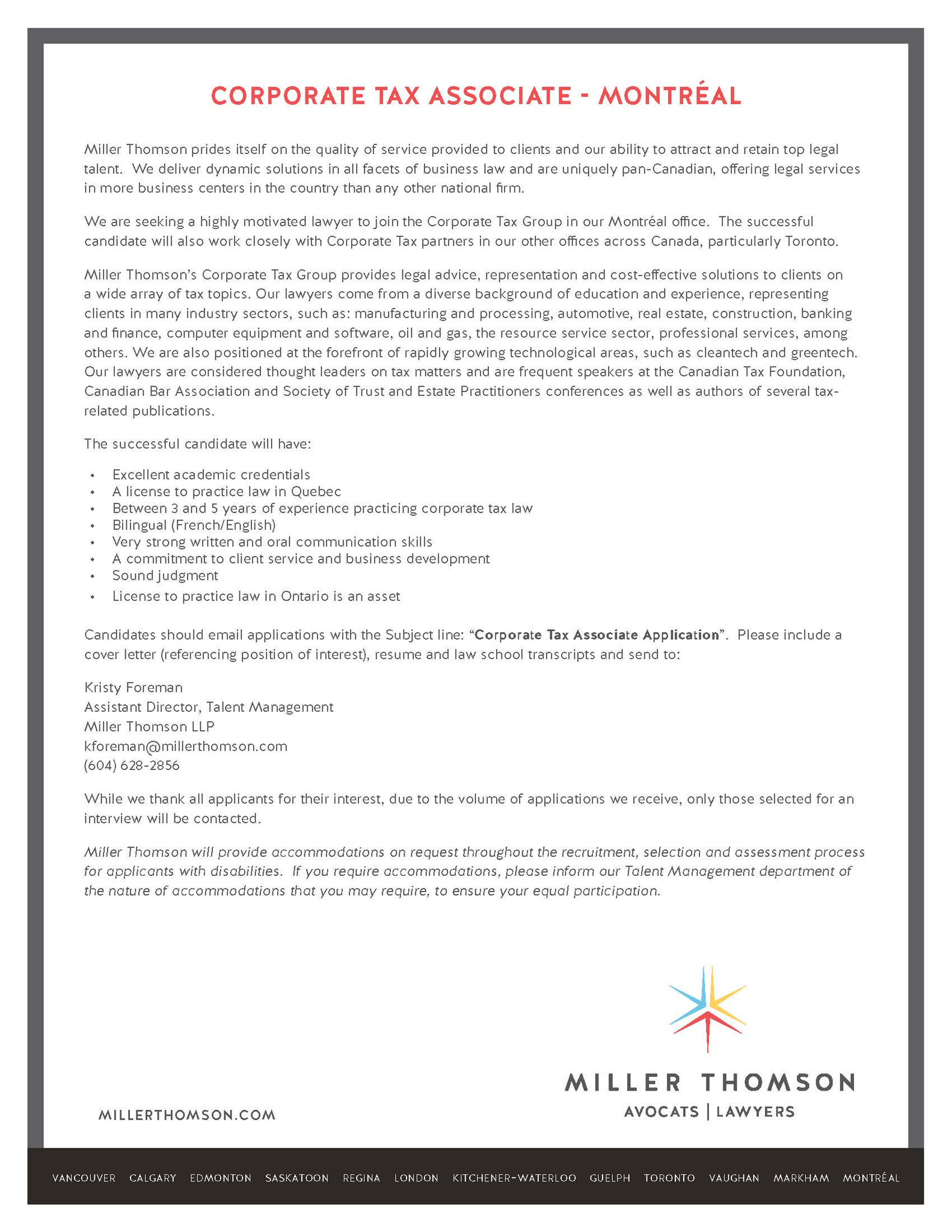 Cover Letter Tax Associate