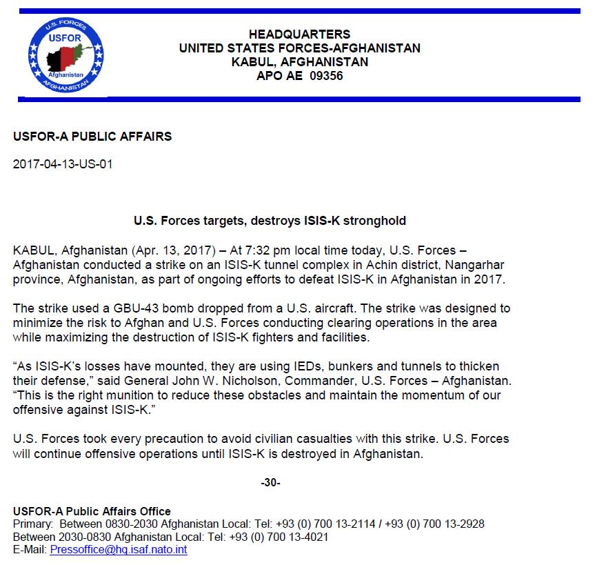 .@USFOR_A #US Forces targets ISIS-K stronghold, drops GBU-43 #MOAB bomb on #ISIS