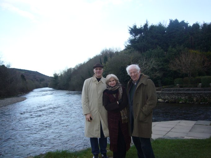 Happy Birthdayto Seamus Heaney,great poet, colleague, and friend.(with C. D. Wright on the road in Ireland)
