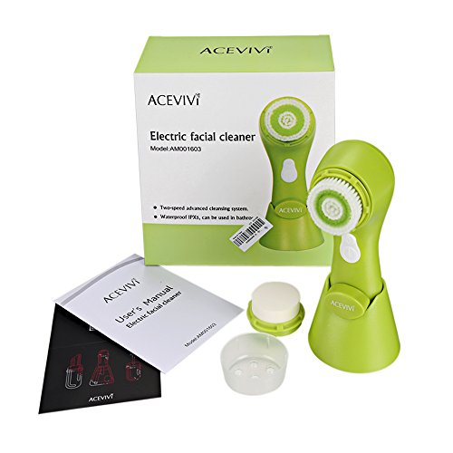 ACEVIVI Green Exfoliating Cleansing Face Brush 2 in 1 Facial Massager Face Brush with Stand