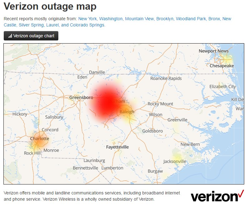 Town of Chapel Hill on Twitter Large outage for verizon wireless