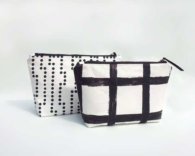 Makeup bag / Large cosmetic bag / Waterproof make up bag / Large travel pouch / Black polka dot makeup bag / White toiletry bag / Trousse