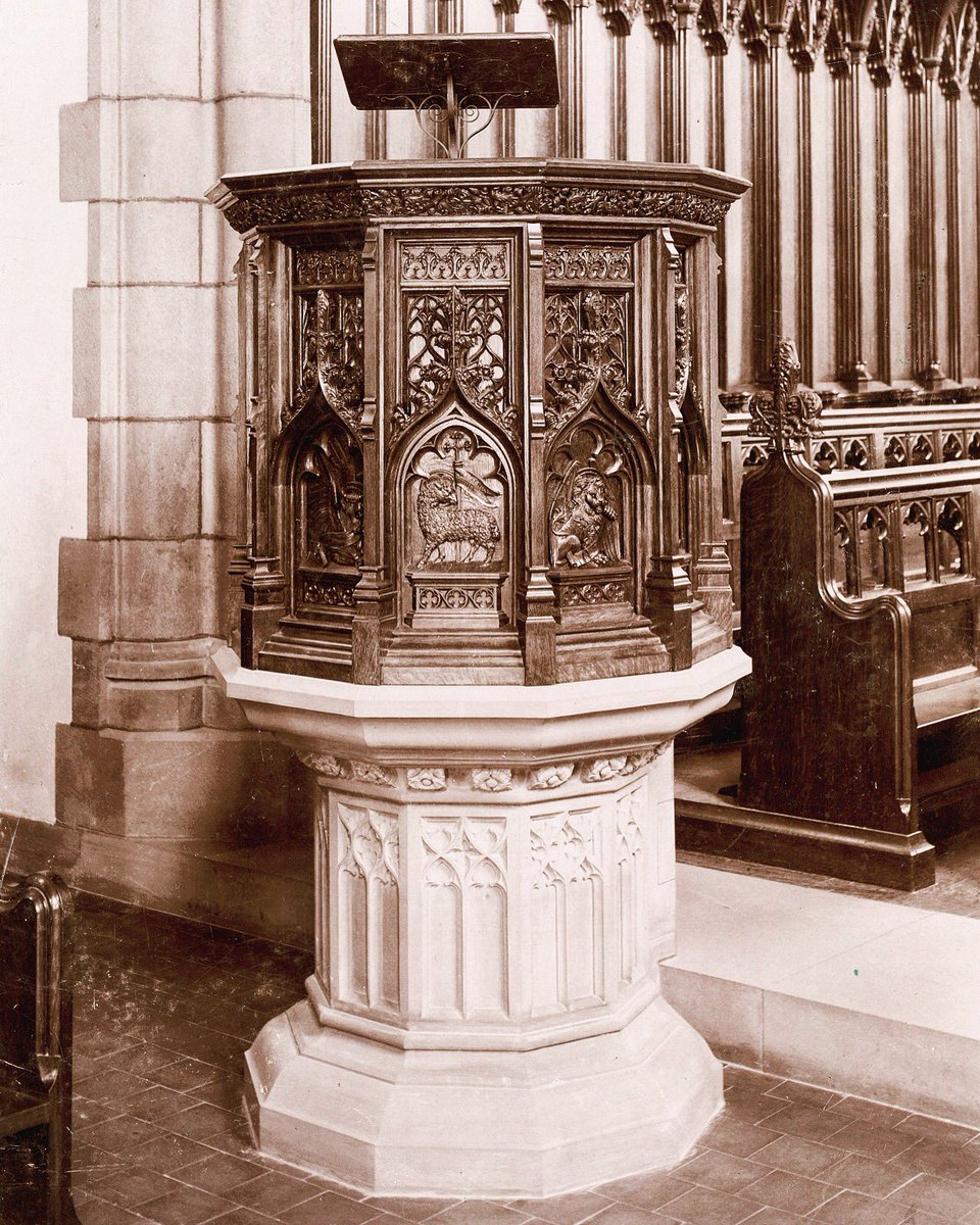 A #ThrowbackThursday photo of the #pulpit in #NewChapel - gift of the Form of 1887 - elaborately #carved with #evangelist #symbols. #IamSPS<br>http://pic.twitter.com/FRWDkAqiF4