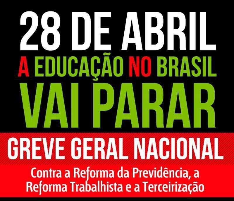 Dia 28 de abril o Brasil vai parar! #diadeluta #28érua #nenhumdireitoamenos ✅🇧🇷