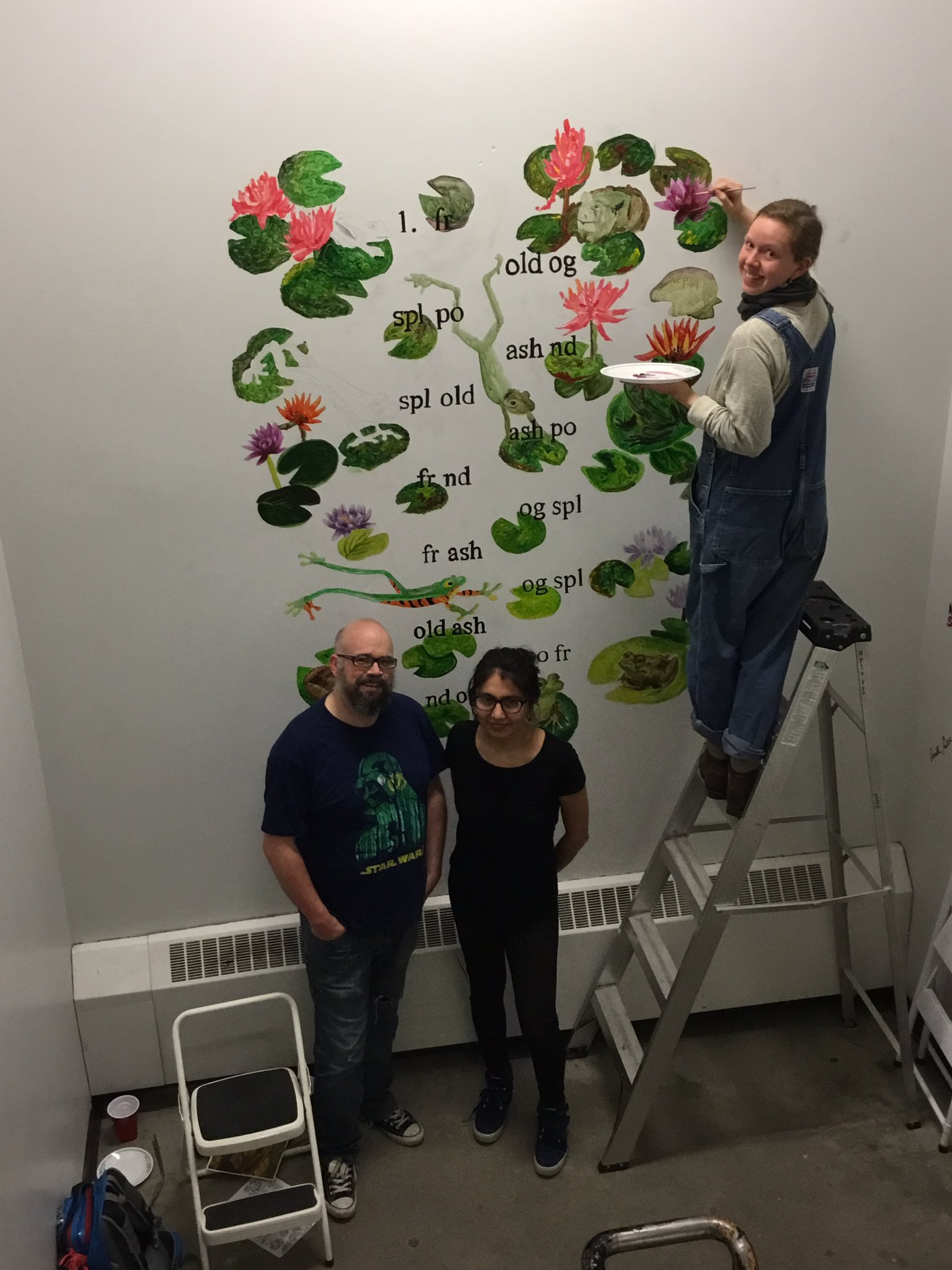 Mural accompanying restored Leon poem is just about done. Thnx to our wonderful volunteers for recovering @UCalgary_Arts history. #leonlives https://t.co/t8v3spkWos