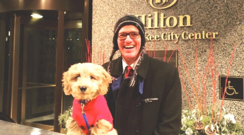 Cuddly Concierge Won't Carry Your Bags, But May Offer A Snuggle (@HiltonMilwaukee)