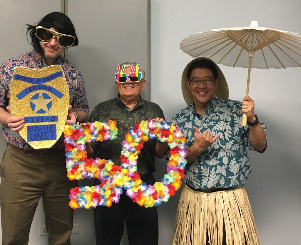 @LarsEngman Cal Hutton & Dave Kaya our fun-loving leaders sharing the aloha in our photo booth #ceridianhawaii50 https://t.co/izEeP7Dp7h