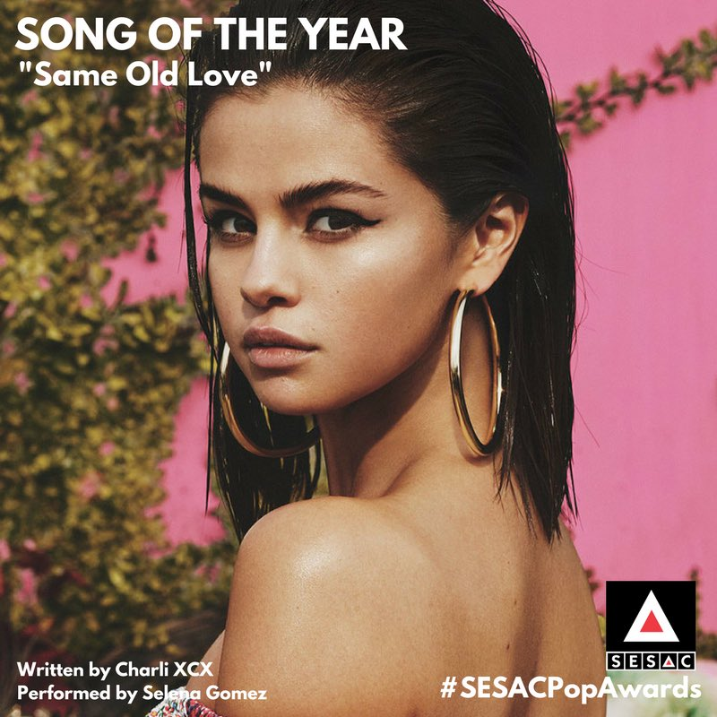 "Huge congrats to @charli_xcx for winning Song of the Year for ""Same Old Love"" by @selenagomez!"