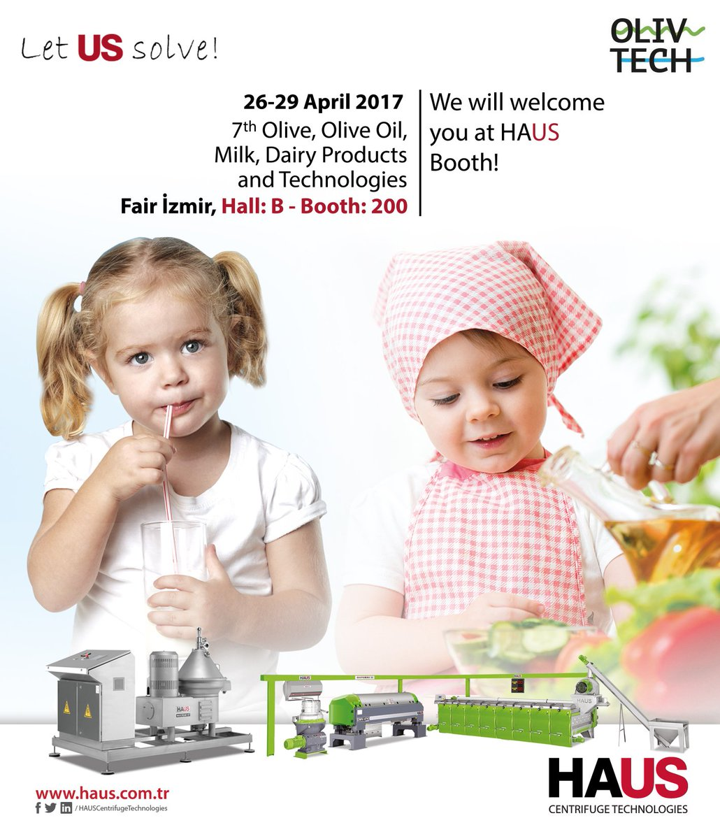 We will welcome you at HAUS Booth! #OLIVTECH #olive #oliveoil #milk #dairy #technologies #decantercentrifuge #discstackseparator