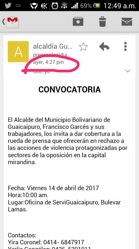 ATN!Lean hr convocatoria(4:27 pm ayer)para una rueda de prensa hoy del representante madurista en los Teques,como sabía que ocurriría?
